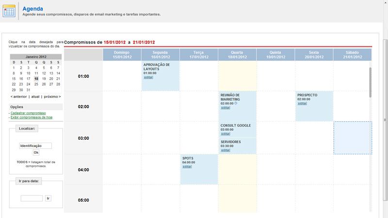 integradas, compromissosÂ, Agenda, Gerencie