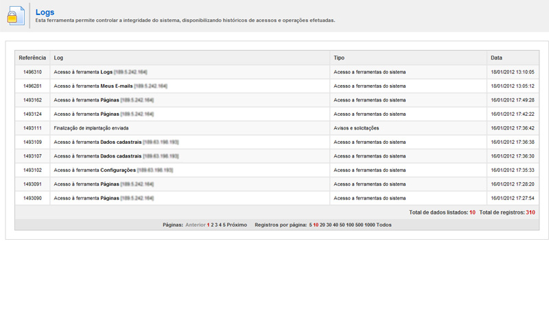 Gerenciador de E-mails - Plataforma Webstudio - Plataforma de E-commerce